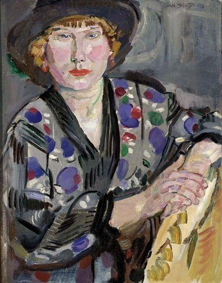 Jan Sluijters - Portret van een vrouw met hoed (1914)
