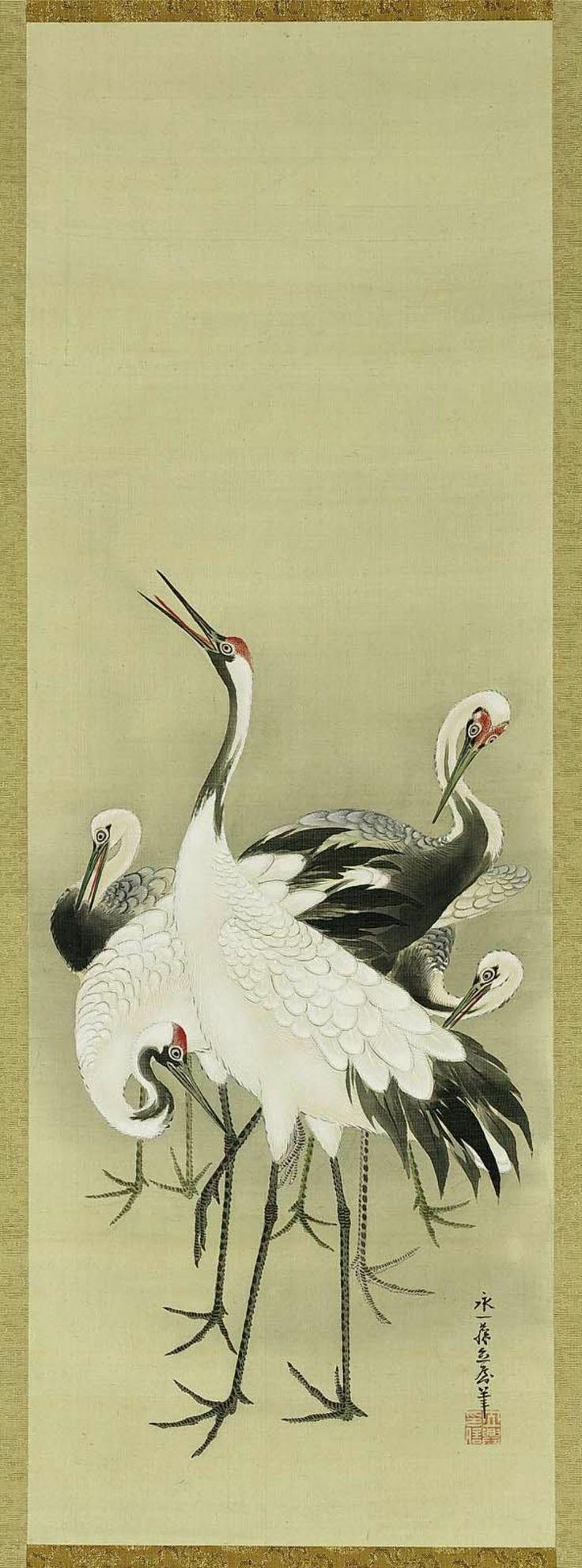 Cranes      鶴図      Japanese, Edo period - Meiji era, 19th century     Eiitsu, Japanese, dates unknown