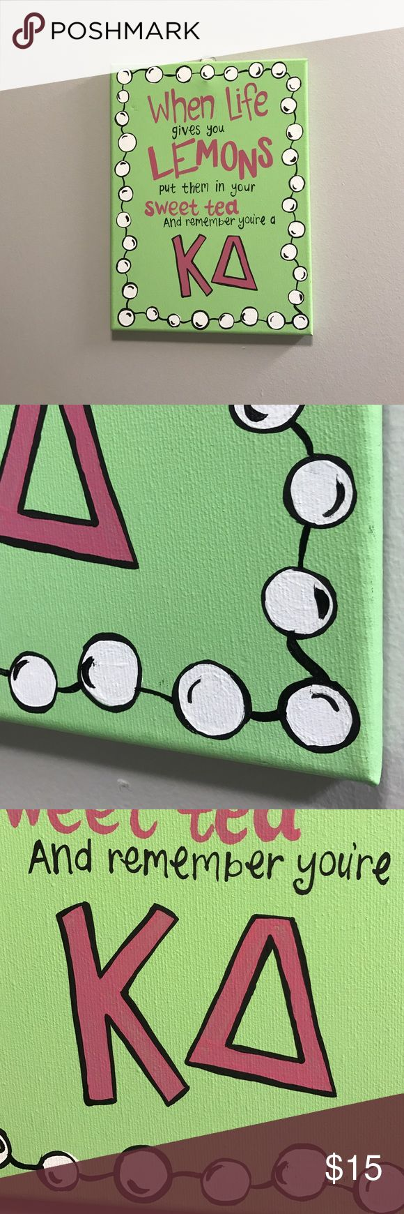 Hand Painted Kappa Delta canvas Cute pink and green kappa delta canvas! Perfect for a big/little week or decorating your room! Lots of detail went into this and it's in perfect condition, just moving and trying to get rid of some things. Other
