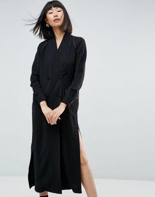 ASOS WHITE Split Detail Maxi Shirt Dress