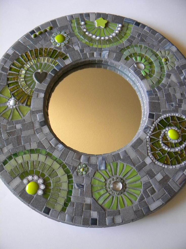 Shades of Gray and Lime Round Mosaic Mirror by TheMosartStudio