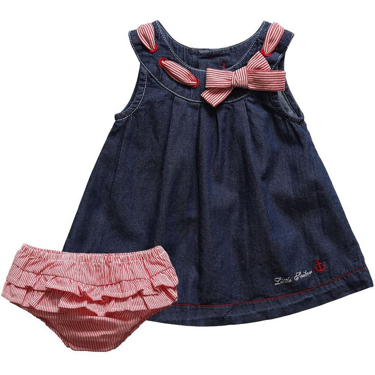 Baby Girls Blue Denim Cotton Dress & Pants Set - Baby | Childrensalon
