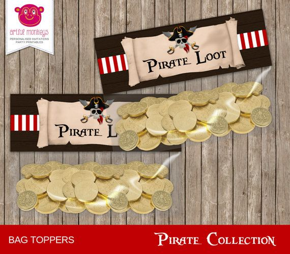 Printable Pirate Party Favor Bag Toppers