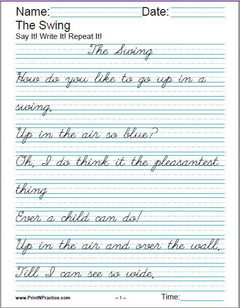 Printable Handwriting Worksheets M Cript And Cursive