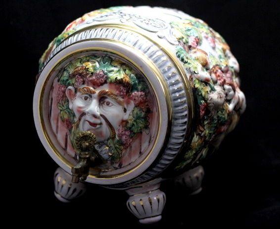 Bacchus Wine Serving Decanter Figural Made in Italy/Italian Capodimonte