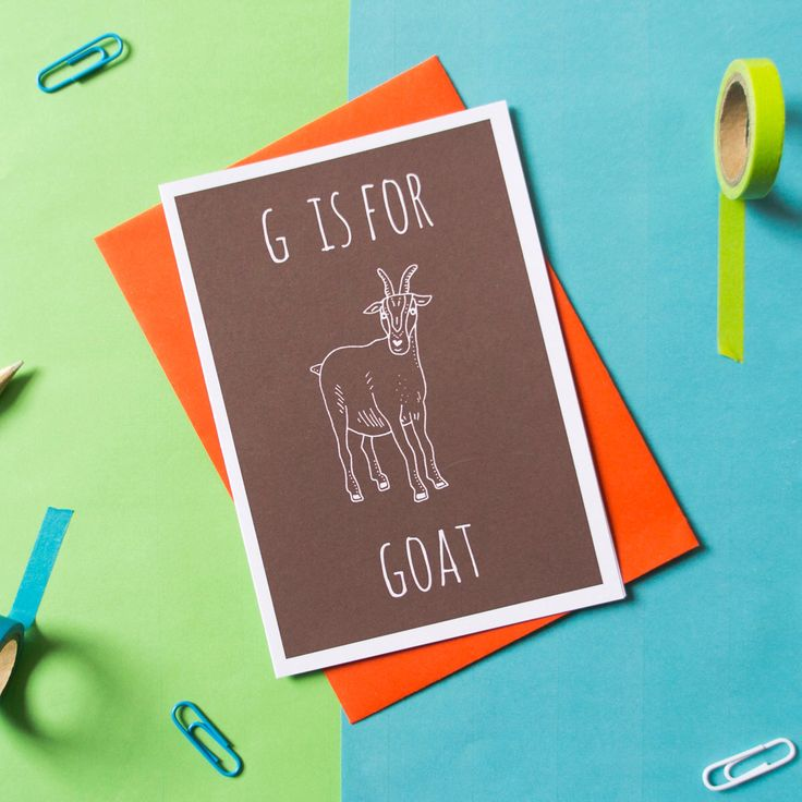 Goat Card. Animal Alphabet Card. 100% Recycled Card & Envelope by DarwinDesignsCards on Etsy https://www.etsy.com/listing/194899558/goat-card-animal-alphabet-card-100
