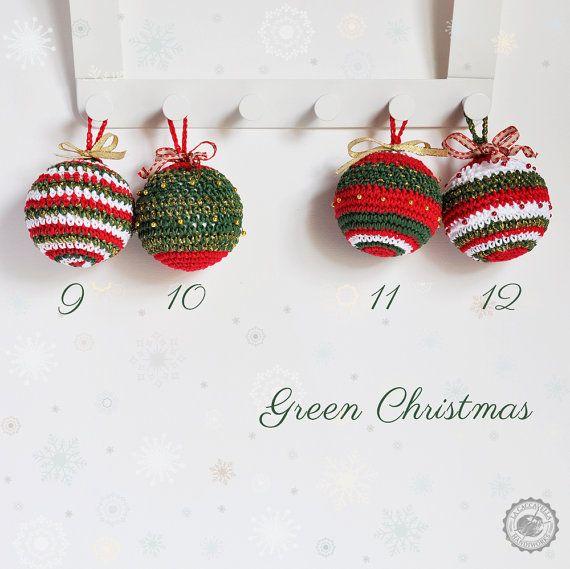 Crochet #Christmas #decor, #baubles, #green christmas