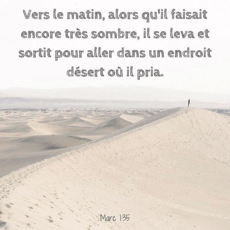 La Bible - Verset du jour - Marc 1:35 - Vers le matin, alors qu'il faisait encore très sombre, il se leva et sortit pour aller dans un endroit désert où il pria.
