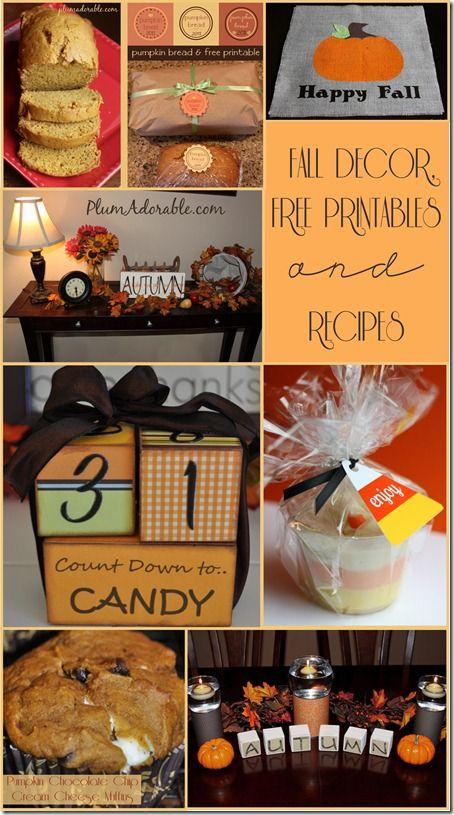 Fall Decorations, recipes & Free Printables