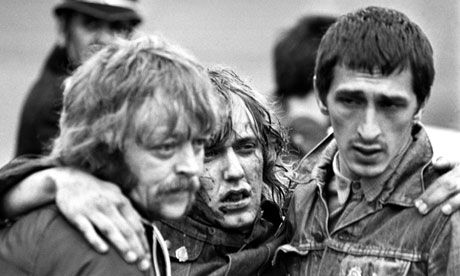 A picket is helped away during the 'battle of Orgreave', which took place at the Orgreave coking plant near Rotherham in 1984. Photograph: Press Association