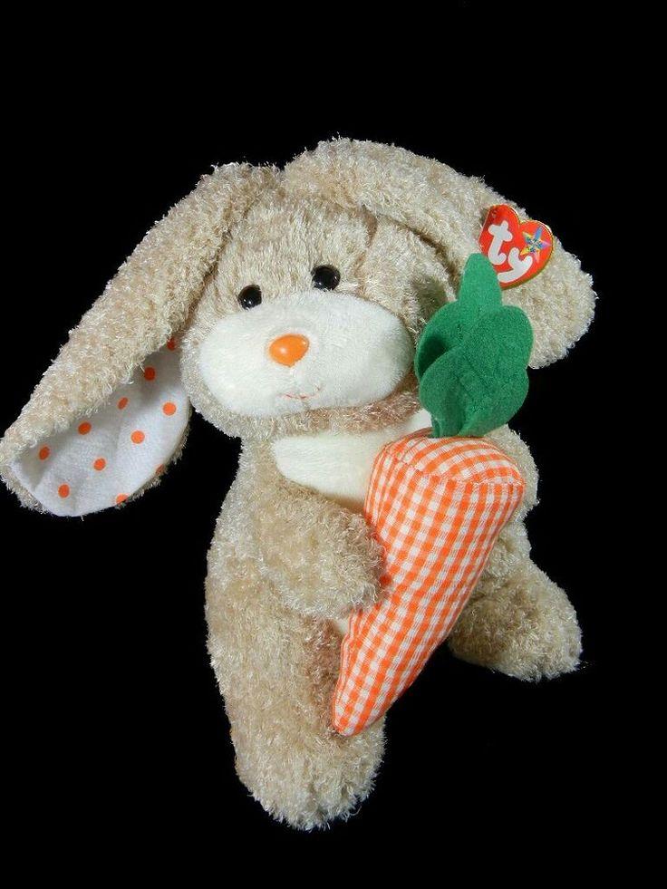 Ty Beanie Buddy Veggies Lop Eared Bunny Rabbit Stuffed Easter Animal 10in 2005 #Ty