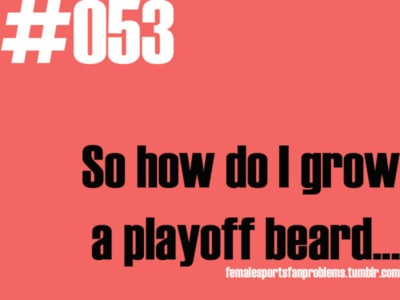 Female Sports Fan Probs 101 ~ go buy a fake one of the boys of Duck Dynasty. Now those are playoff beards.