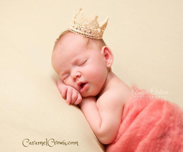 Small ivory newborn baby lace crown photo prop