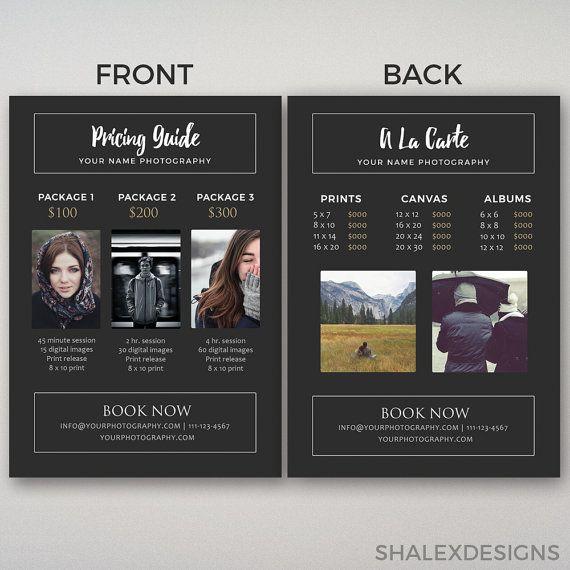55 best Photography Pricing Guide Templates images on Pinterest - guide templates