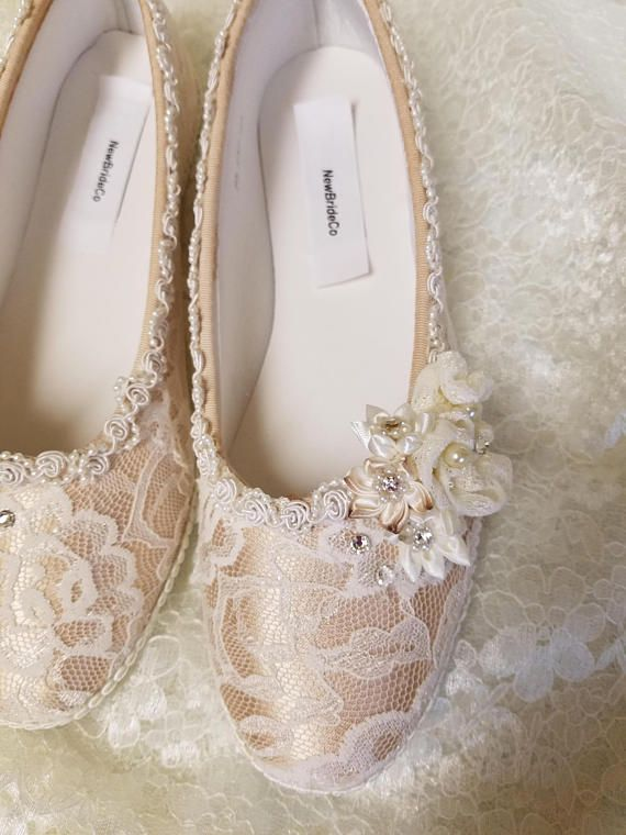 Champagne color lace over satin flat