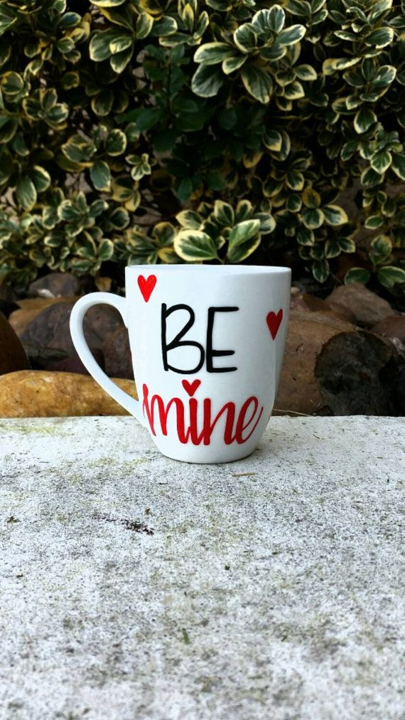 BE MINE coffee mug. Unique and Cute gift! Perfect for a valentines day gift! Fill up with little goodies and candy for your special someone!