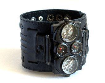 Mens wrist watch leather bracelet Pathfinder Steampunk by dganin