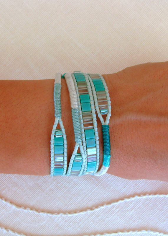 Macrame and Beaded Wrap Bracelet in Teal With Pistachio Indian Leather and Button Clasp