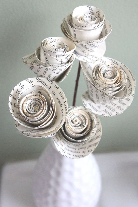 Paper roses by dragonflies on etsy