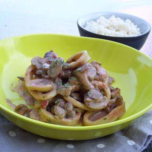 Légèreté & Gourmandises: Poelee de calamars aux champignons (2 PP)