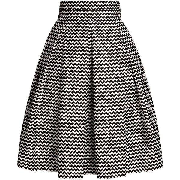 Rumour London - Ravello Chevron Midi Skirt found on Polyvore featuring skirts, knee length pleated skirt, cotton midi skirt, cotton pleated skirt, pleated skirt and fitted skirts