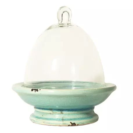 The Teeny Rabbit Aqua Cake Stand with Glass Dome