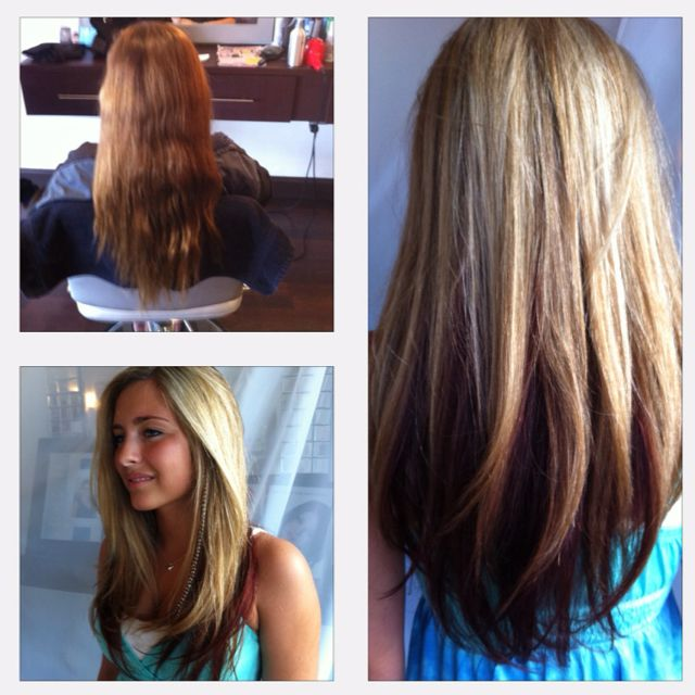 Before And After Long Layers Blonde Highlights Red