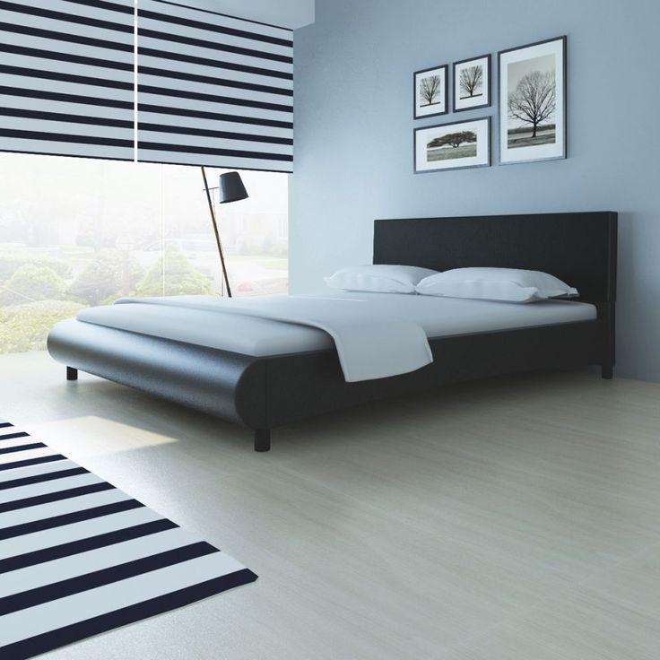Modern Black Leather Bed Frame King 5Ft Bedroom Guest Room Hotel Furniture Slats