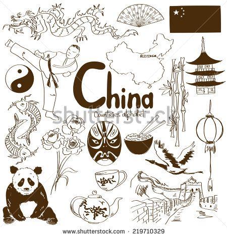 Fun sketch collection of Chinese icons, countries alphabet - stock vector