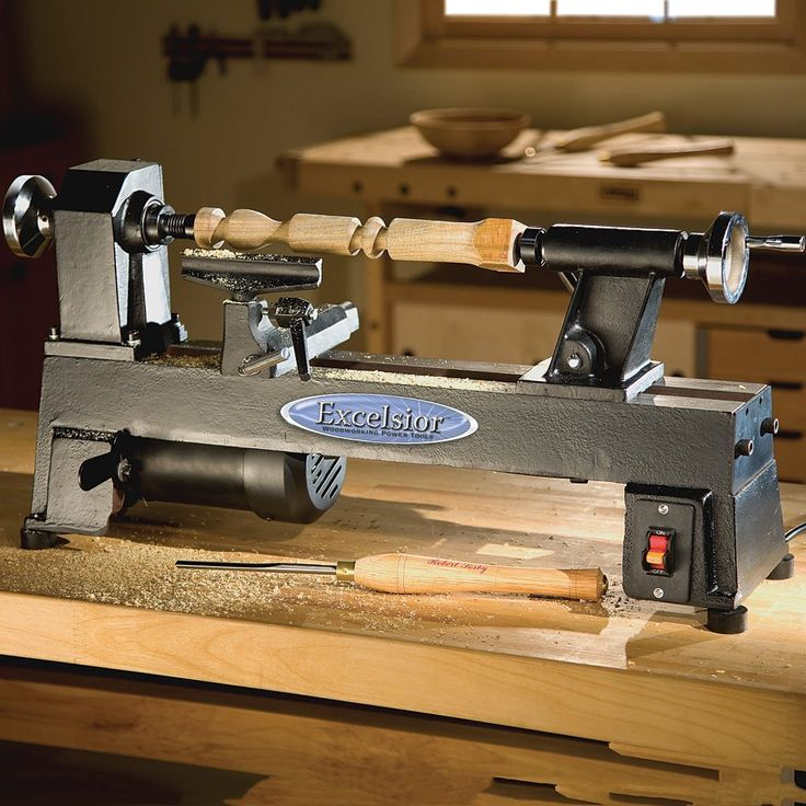 """Description: The Excelsior 5-Speed Mini Lathe can turn bowls of almost 10"""" in diameter and spindles up to 17-3/4"""" in length, making it perfect for chair legs, small table legs and an endless array of"""