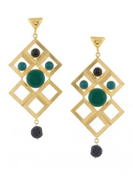 Black and Green Onyx Gold-plated Brass Earrings