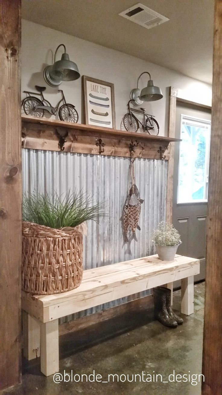 Corrugated Metal Wall, Basement Entry, Rustic Mudroom, Stained Concrete Floor, Mountain & Lake Decor