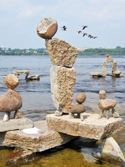 "Remic Rapids, on the Ottawa River, is home to an original artistic project: the ""art of balance"", by local artist John Ceprano."
