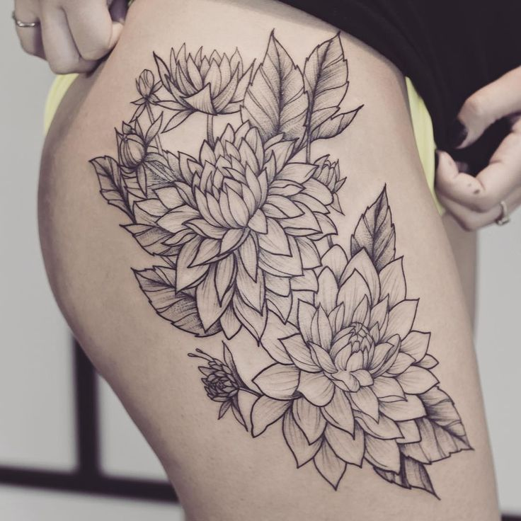 """Dahlias! Yes! Her first tattoo, Thanks @kaylaheir !  @jesseholland"""