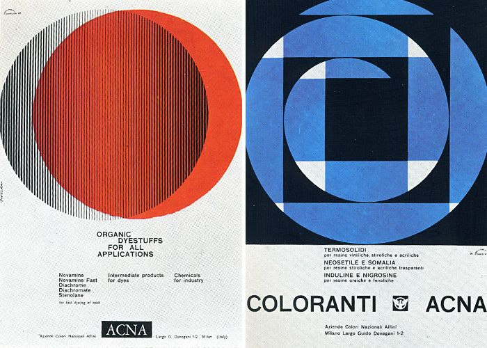 BN.Ads for ACNA Montecatini, 1961 and 1962.