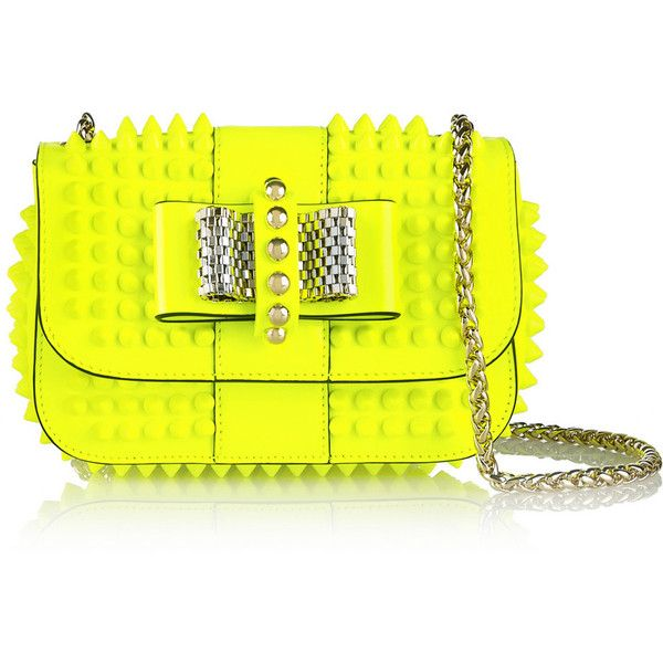 Christian Louboutin Sweety Charity mini spiked neon patent-leather... ($1,225) ❤ liked on Polyvore featuring bags, handbags, shoulder bags, mini shoulder bag, neon yellow handbag, yellow handbags, shoulder handbags and yellow purse