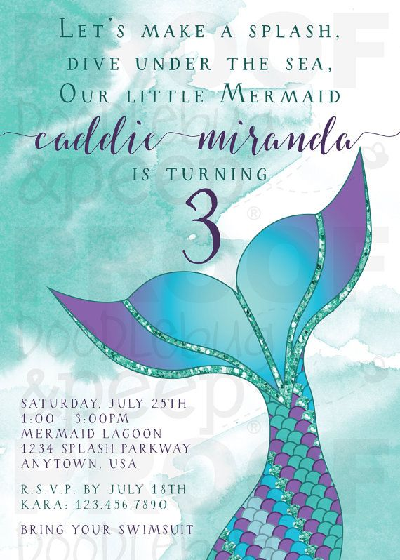 Our Mermaid Birthday Invitation is sure to make a splash for your little girls birthday bash! This invitation is beautifully designed with