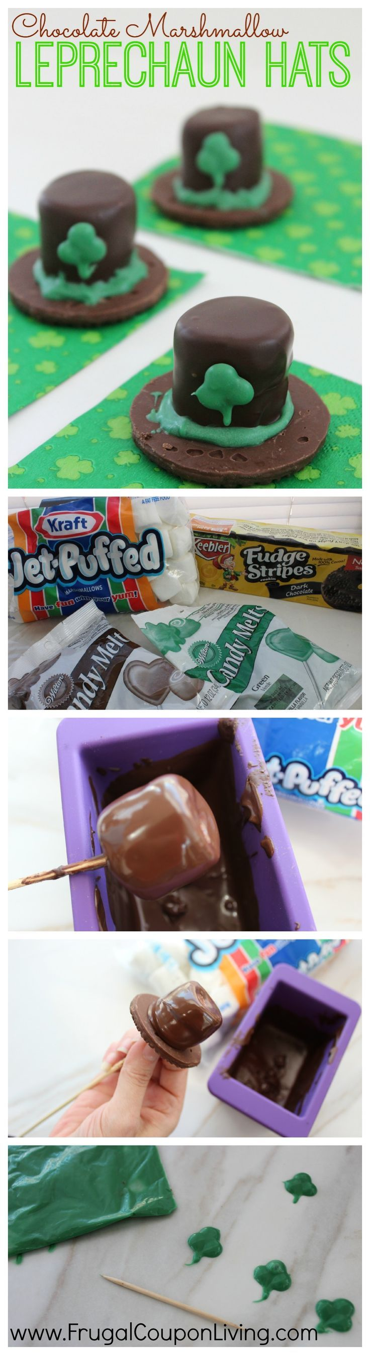 These St. Patrick's Day Chocolate Marshmallow Leprechaun Hats are MUCH easier than you think. Making the handmade shamrocks, only requires coloring, chocolate and a ziploc bag.  For your next St Patrick's Day Recipe and Kids Food Craft, grab this Leprechaun Recipe off Frugal Coupon Living.