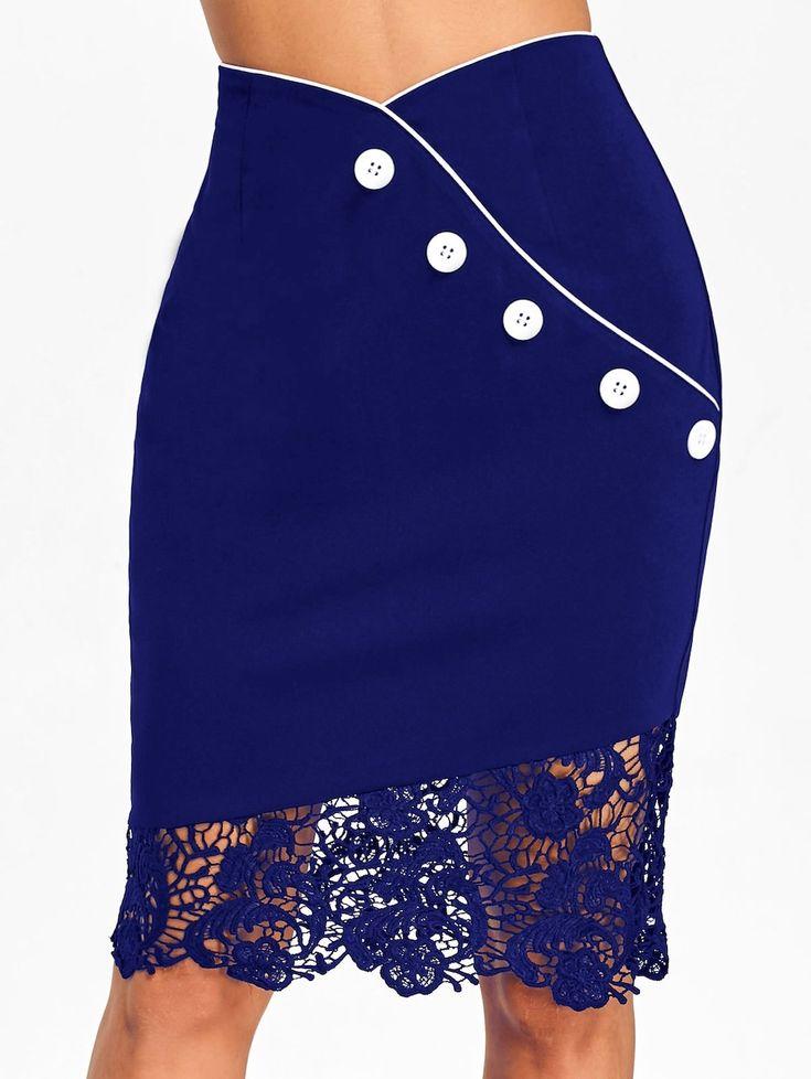 Crochet Lace Trim High Waisted Sheath Skirt