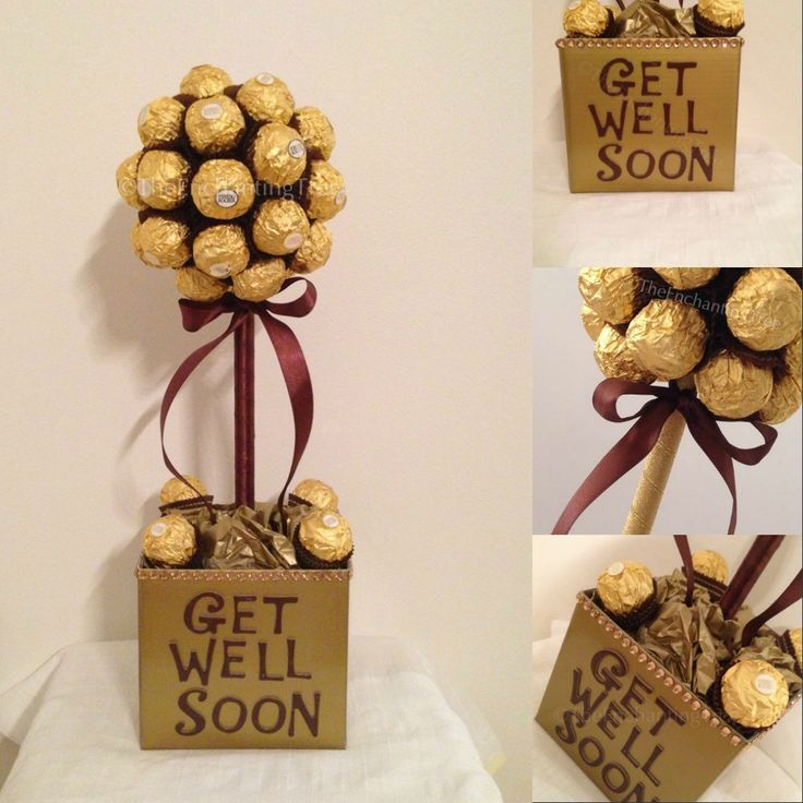 """Get Well Soon"".  Ferrero Rochers will make anyone feel better! Large (30 chocolates) $60 Medium (20 chocolates) $50"