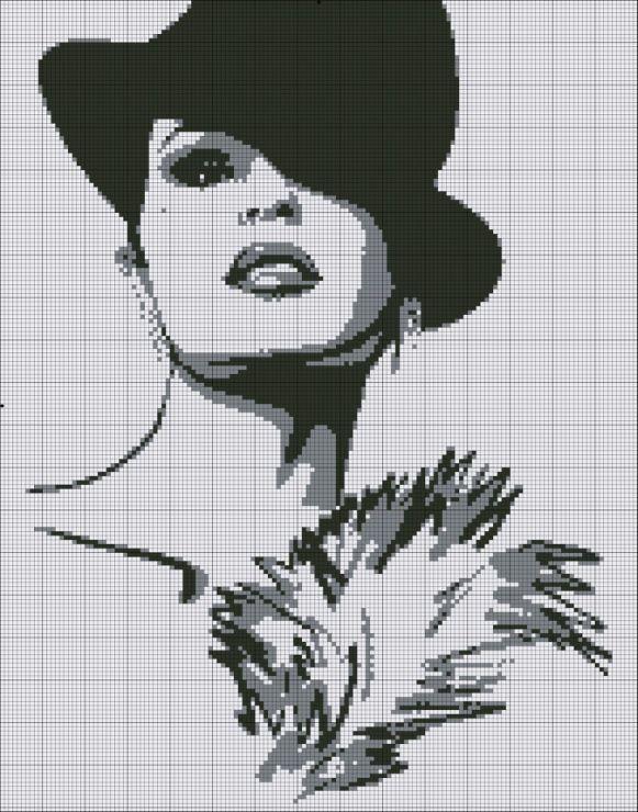 point de croix  visage de femme à chapeau - cross-stitch woman's face with a hat