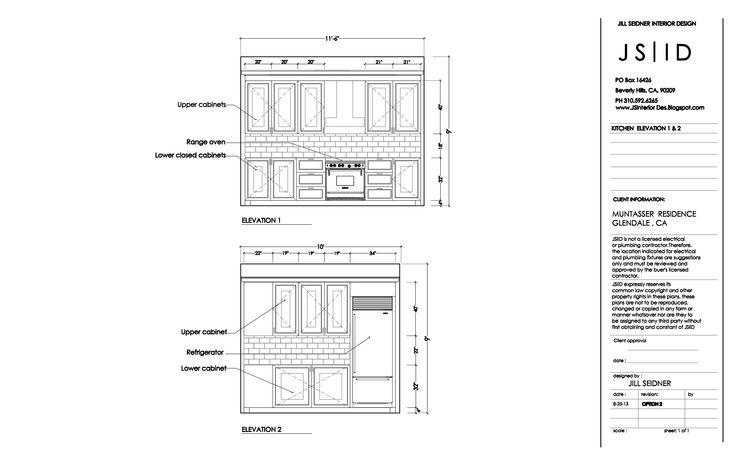 Floor Elevation Technique : Glendale ca residence kitchen remodel elevation