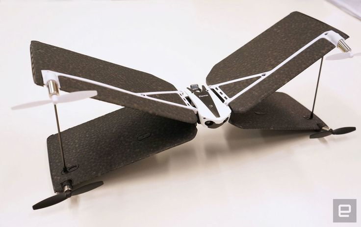 Parrot's hybrid Swing Minidrone. The unique X-shaped 'Swing' hovers like a quadcopter or flies horizontally in plane mode.