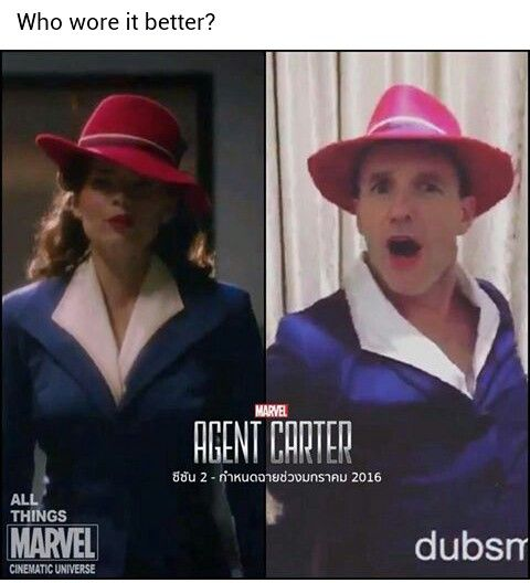 Agent Peggy Carter versus Agent Phil Coulson: Who wore it better? <<< no competition, Couslon.