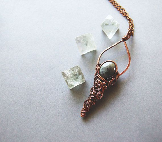 Labradorite Drop Necklace Elvish Inspired by KicaBijoux on Etsy