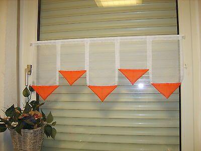 Scheibengardine 80cm Weiß Orange Gardine Scheibengardinen  40,30,40,30,40cm