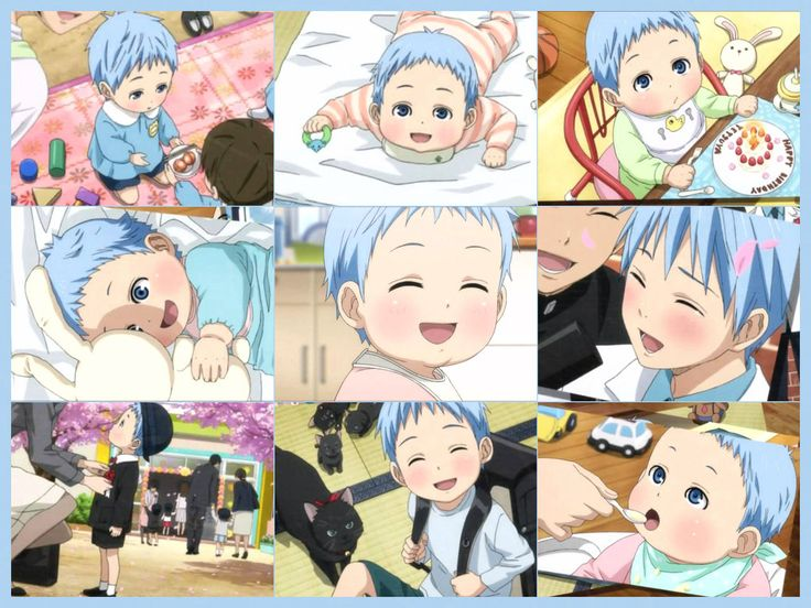 Kuroko's childhood photo collage from ending of Kuroko no basket Season 3 episode 51! {。^◕‿◕^。}