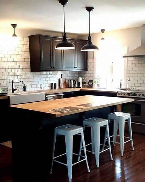 Laxarby kitchen cabinets, black, ikea, white metro tile