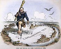 William Allen Rogers cartoon depicting Theodore Roosevelt's Big Stick Ideology