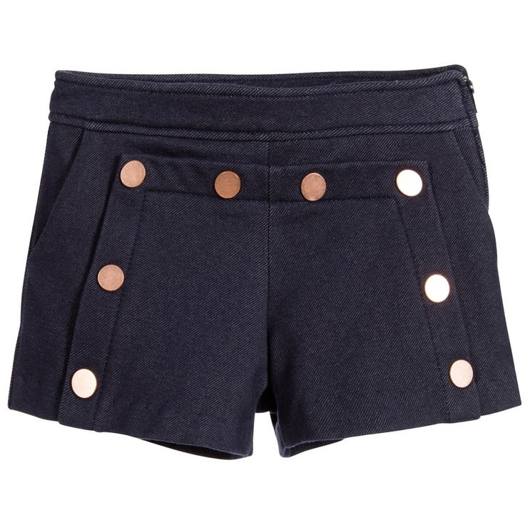 Lili Gaufrette Girls Blue Cotton Jersey Shorts at Childrensalon.com